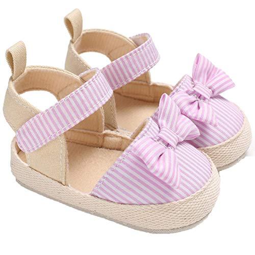 Geagodelia Sandali per Bambina Scarpine Estive Neonata con Fiocco Pantofole Antiscivolo con Suola Morbida Scarpe prewalker Infantili Sandalo Primo Camminatore Ragazza (A-Rosa, 0-6 mesi)