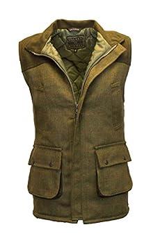 Walker and Hawkes Men s Tweed Shooting Waistcoat Gilet with Shoulder Patch Small Dark Sage