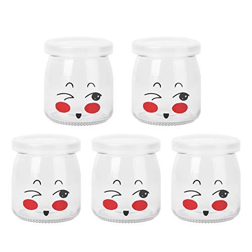BESTonZON Joghurtgläser 5 Dessertgläser mit Deckel und kunststoffkappe für Gelee Mousse Marmelade Honig Hochzeit Baby Shower Favors 200 ml (Zufälliges Muster)