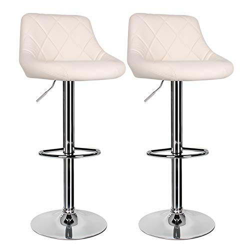 2 pcs Cream Bar Stool,Kitchen Bar Stool Swivel Gas Lift Breakfast Bar Stool with Back and Chrome Footrest Bar Chairs Dining Stools,Breakfast Bar/Counter/Kitchen Home Furniture