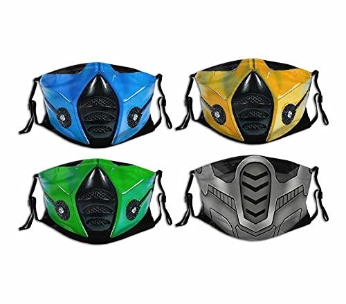 4PCS Mortal Kombat Cloth Face Mask Washable Reusable Dust-Proof Balaclava Bandana Neck Gaiter Adjustable Face Cover for Adults Kids Men Women Boys Girls Made in USA Medium