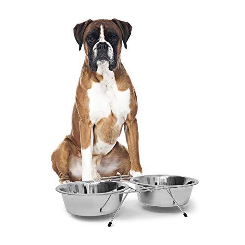 Relaxdays Doppelnapf aus Edelstahl, mit Napfständer, Fressnapf, für Hunde und Katzen, Set, 2,8 l je Futterbar, silber