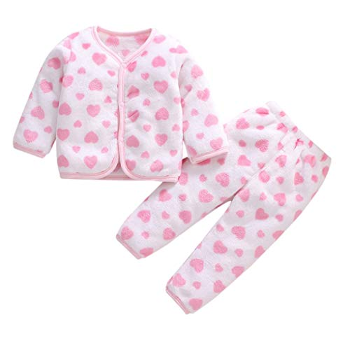 Kobay-baby 2 STÜCKE Neugeborenes Baby Mädchen Fleece Dicken Warmen Mantel Hosenanzug Pyjamas Mädchen Langarm Winter Korallen Fleece Warmen Pyjamas Mantel + Hosen Set (0-3Y) (80,6-12 Monate, F)