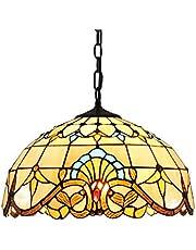 Tiffany Stijl Hanglamp Vintage Glas-in-lood Eetkamer Eettafel Hanglamp In hoogte verstelbaar E27 Artistieke Woonkamer Slaapkamer Kroonluchter Studeerkamer Keuken Hotel Loft Plafondlamp,Ø40cm