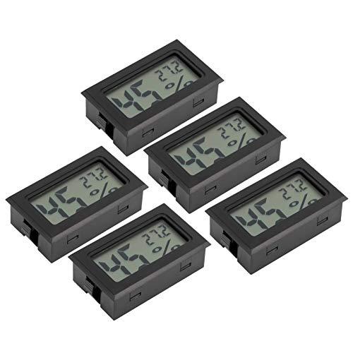 Probador de temperatura y humedad fácil de operar Fácil de usar 5 piezas Durable visualizado directamente Termómetro LCD para el hogar Sala de estar Dormitorio Oficina Negro