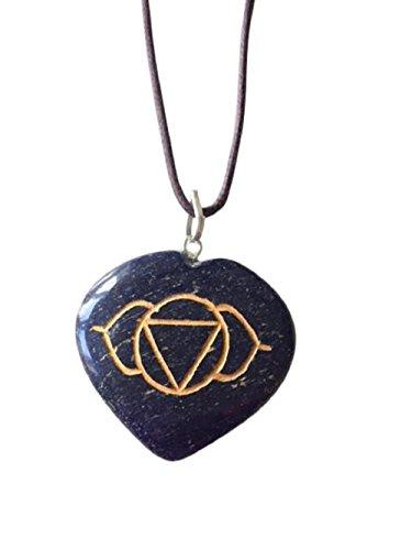 Genuine Natural Gemstone Heart Shape Chakra Symbol Pendant ~ Amethyst Aventurine Lapis Lazuli Jasper ~ Handmade Necklace Jewellery Gift Boxed (Blue Aventurine - Third Eye Chakra)