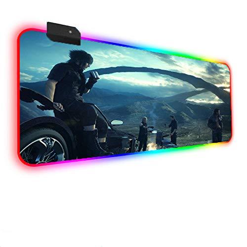 Alfombrilla de ratón RGB de Anime Final Fantasy para Juegos, Teclado LED, Alfombrilla Grande con para PC, Escritorio para Ordenador portátil, 800x300x4 mm