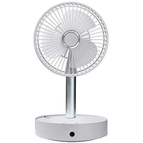 Mini ventilador plegable, ventilador de pie ajustable con interfaz USB, ventilador de piso portátil, 4 velocidades, súper silencioso 7200mAh batería recargable mini ventilador USB talla única blanco