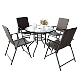 S AFSTAR 5 Pieces Patio Dining Set, 4 Folding Chairs with Table, Portable Wicker Chairs Furniture Set for Outdoor Garden Backyard (4 Chairs w/ 28''H Classic Round Table)
