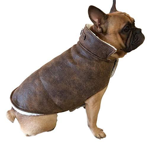 YAODHAOD Chaqueta para perro Bulldog de piel sintética, abrigo para mascotas, chaqueta de invierno de algodón, para perros y gatos pequeños y medianos (XXL, marrón)