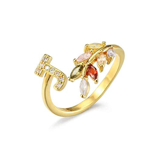 Open Rings For Women, Ladies Adjustable Ring Initial Letter J Cubic Zirconia Leaf Golden Ring Charm Jewelry For Girls Birthday