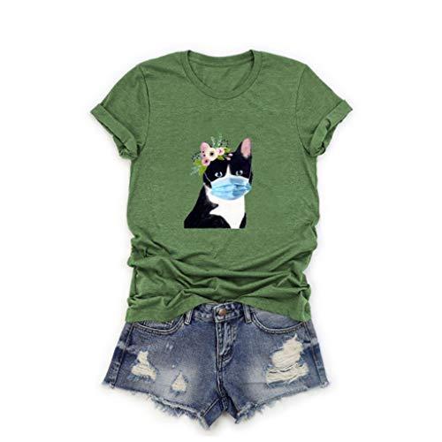 Ulanda-EU Damen Sommer Shirt Top, Lustig Katzen Mundschutz Motiv T-Shirt Kurzarm Oversize Oberteile Hemd Lässig Rundhals Bluse Tops Sports Tee Sweatshirts