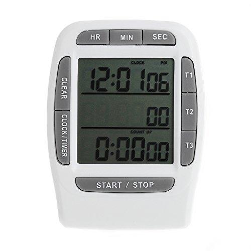 Xuebai Digital LCD Multicanal Temporizador Countdown Laboratory Temporizadores de 3 Canales Temporizador de 99 Horas Blanco