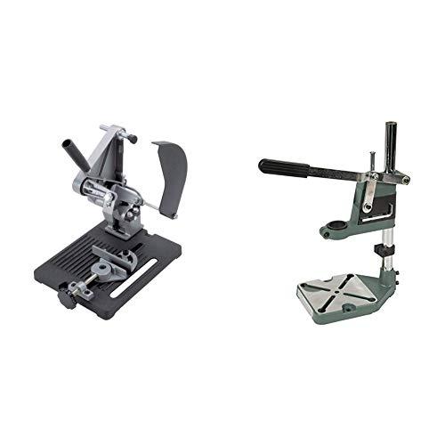 Wolfcraft 113232 5019000-1 Soporte para Cortar para Amoladora Angular diam. 115 y 125 mm, 1 W & Bricowin HCMN2024 Soporte Universal taladros Altura (400 mm)