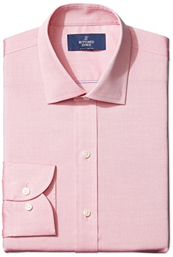 Amazon Brand - Buttoned Down Men's Slim-Fit Spread Collar Pinpoint Non-Iron Dress Shirt, Pink, 17.5 37