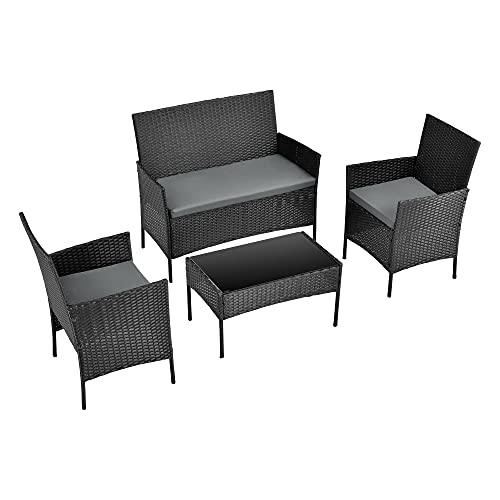 [en.casa] Set de Muebles de Jardín Prazeres 84 x 104 x 58 cm Conjunto de Muebles de Exterior Terraza Patio Set de 2 Sillas Banco Mesa de Centro Set de 3 Cojines Negro y Gris Oscuro
