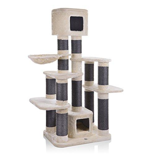CanadianCat Company ® | Kratzbaum - Toronto 1 beige XXL mit 15cmØ Kratzstämme ca. 124x60x170cm speziell für große und schwere Katzen wie Main Coon