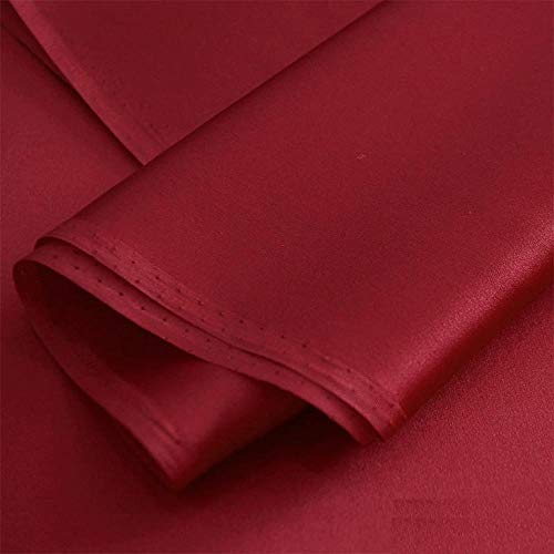 July.sf Treasure Box Silk Fabric, Satin, Silk, Silk Dress, Cheongsam Dress, Solid Color Rode Wijn
