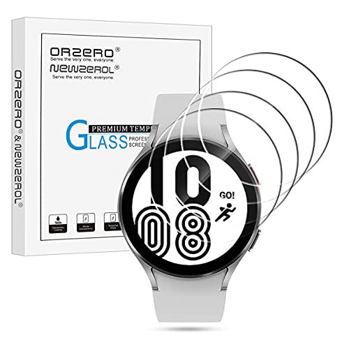 NEWZEROL 4 Pezzi Compatibile per Samsung Galaxy Watch 4 44mm Pellicola Protettiva in Vetro Antiproiettile, Schermo Protettivo in Vetro Temperato ad Alta Risoluzione Pellicola - Trasparente