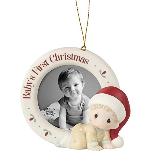 Precious Moments 201010 Baby's 1st Christmas Photo Frame Bisque Porcelain Ornament