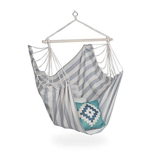 Relaxdays Hängesitz, XL Hängesessel aus Baumwolle, für Kinder & Erwachsene, Aufhängung, In-& Outdoor, 150 kg, grau/weiß