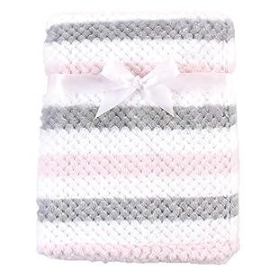 Hudson Baby Unisex Baby Plush Waffle Blanket, Pink Gray Stripe, One Size