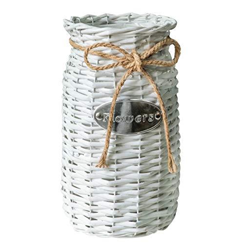 Soyizom Vintage Holz- und Gras-Bodenvase, Vintage, Rattan-Vase, Freach-Blumenkorb mit Seil-Design, für Garten, Hochzeit, Dekoration, 33 cm hoch, Weiß