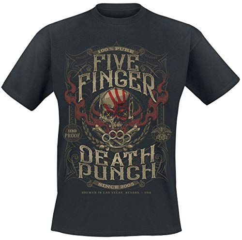 Five Finger Death Punch 100 Proof T-Shirt Uomo T-Shirt Nero S 100% Cotone Regular