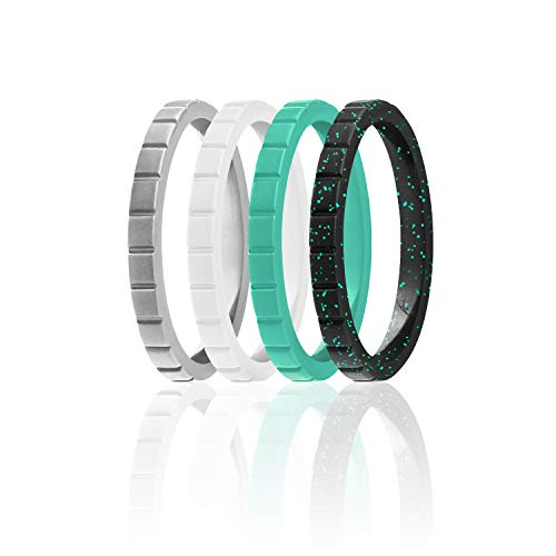 ROQ Silicone Wedding Ring For Women, Set of 4 Thin Stackable Silicone Rubber Wedding Bands Lines - Turquoise, White, Black with Turquoise Glitter, Silver - Size 6