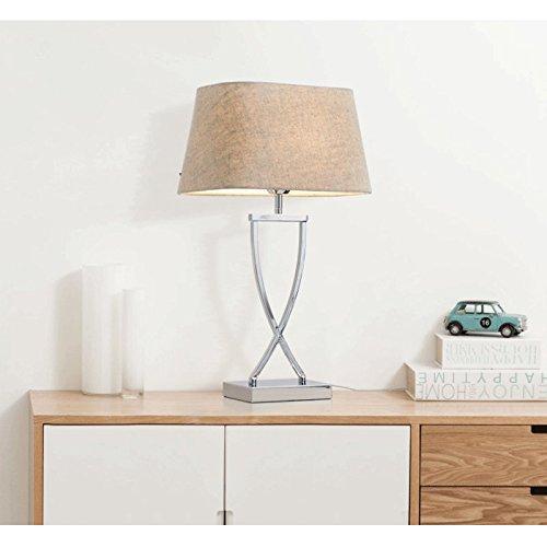 JPVGIA Lámpara de mesa moderna con luces de algodón cromadas Dormitorio Mesita de noche Lámpara de escritorio Iluminación de sala de estar europea