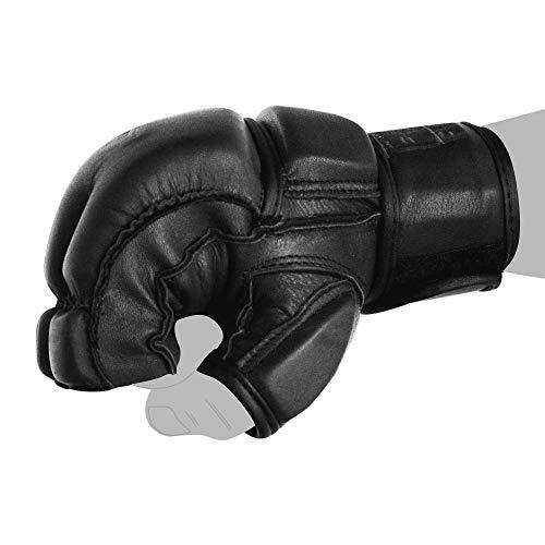 FOX-FIGHT Legend MMA Handschuhe professionelle hochwertige Qualität echtes Leder Boxhandschuhe Sandsack Training Grappling Sparring Kickbox Freefight Kampfsport BJJ Gloves schwarz, L