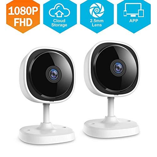 QinLL 1080P HD Indoor IP Camera, 180 graden Draadloze Beveiligingscamera met Cloud Service beschikbaar, fisheye Full Angle, Twee-weg Audio, Bewegingsdetectie,bb