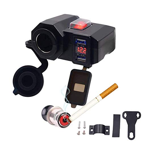 Yiteng バイク用 USB充電器 USBチャージャー 2USBポート 電圧計付 シガーライター搭載 ON/OFFスイッチ付 携帯等充電 防水防塵 12V シガーライター ソケット ハンドルやサイドミラーに取り付け可能 レッド