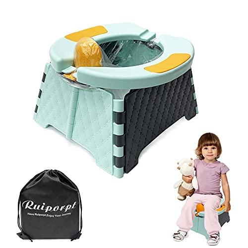Ruiporpt - Vasino da Viaggio per Bambini   Seggiolino Portatile per vasino per Bambini   Sedile WC Pieghevole   Vasino e WC per Bambini Pieghevole   Sedile vasino per Interni ed Esterni (Blu)