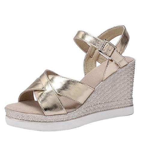 Luckycat Sandalias Mujer Verano 2020 Color Sólido De Punta Abierta con Sandalias De Mujer Sandalias Tacones Altos Zapatillas Zapatos Chanclas Tacon Estilo Bohemio