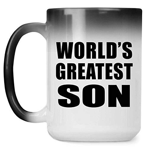 Worlds Greatest Son - 15 Oz Color Changing Mug Farbwechsel-Becher 443ml Thermosensitiv Tasse - Geschenk zum Geburtstag Jahrestag Weihnachten Valentinstag