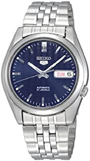 Seiko Men's 5' Japanese Automatic Stainless Steel Casual Watch, Color:Silver-Toned (Model: SNK357)