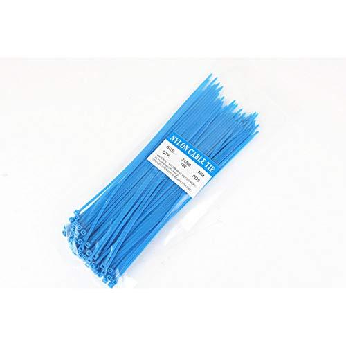 SUOYI Bridas 100pcs 3 * 200mm corbatas con cremallera Correas deplástico multicolores con cierre de alambre, azul
