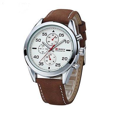 XKC-watches Herrenuhren, Männer Curren Armbanduhr Quarz Wasserdicht Sportuhr Kalender echtem Leder Armbanduhr montre reloj relogio Masculino (Farbe : 1#)