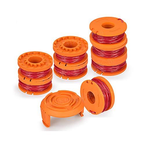 OKBY 8 Pack Rasentrimmer Linie mit 1 Trimmer Cap Trimmer Spule Ersatz Spool Linie für Trimmer Trimmer Spool Cap Edger Spool Cap, Kompatibel mit Worx WG180 WG163 WA0010