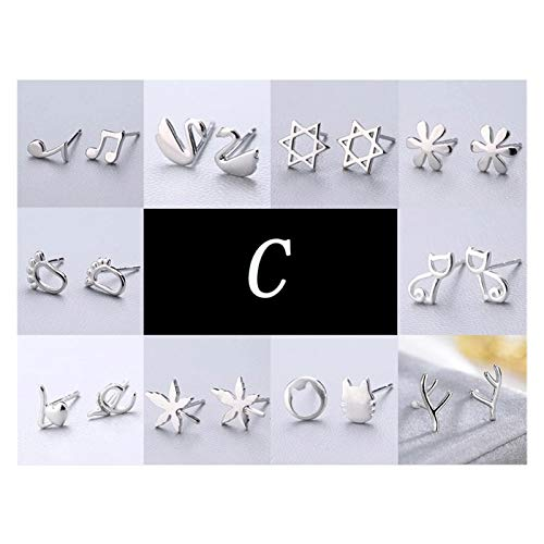 LDH Earrings for Girls 925 Sterling Silver Set Combination Hypoallergenic Simple Ear Needle Compact 10 Pairs (Color : C)