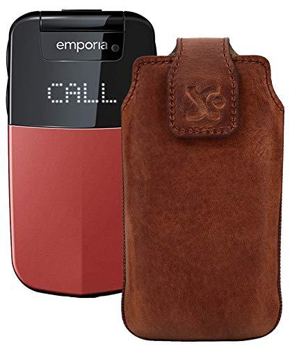Suncase Original Tasche für Emporia Glam V34 Hülle Leder Etui Handytasche Ledertasche Schutzhülle Hülle in antik Coffee
