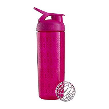 BlenderBottle SportMixer Signature Sleek Shaker Bottle, Geo Lace Pink, 28-Ounce