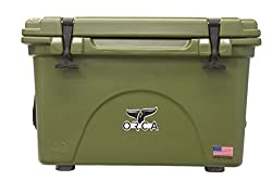 Orca 40 quart marine cooler in green. These great coolers are made in the US.