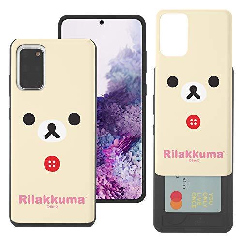 Compatible with Galaxy Note20 Case (6.7inch) Rilakkuma Slim Slider Card Slot Dual Layer Holder Bumper Cover - Face Korilakkuma
