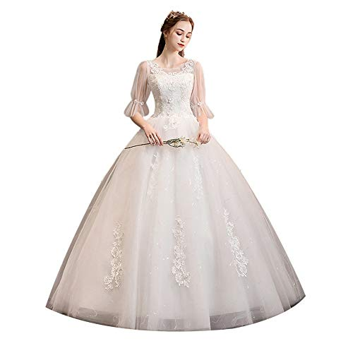 KPOON Vestido de Novia Vestido de Novia de Cola Larga con un Hombro for Mujer Vestido de Novia de...
