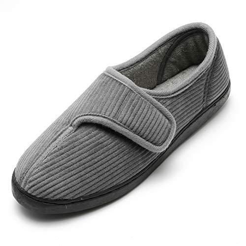 Pantofole da casa per Uomo Ultra-Leggero Confortevole e Antiscivolo Calde Ciabatte per Cotone Peluche con Soletta Memory Foam Pantofole Regolabili diabetiche per artrite Edema Piedi Slippers GY11