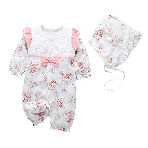 Livoral Neugeborene Baby Mädchen Blumendruck Rüschen Lace Strampler Overall + Hut Outfits(Weiß,0-3 Monate)