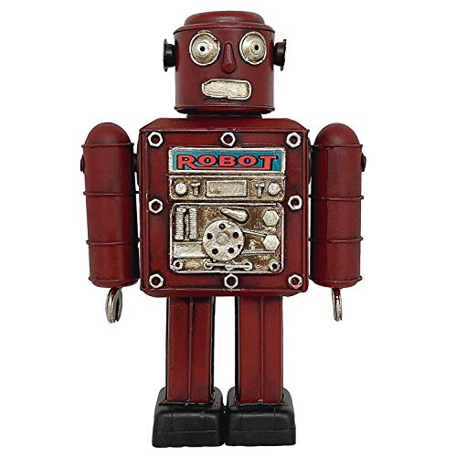 Aubaho Retro Robot de hojalata Metal 26cm Modelo decoración Estilo Antiguo Rojo