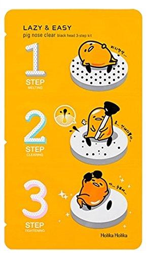 Holika Holika®–Lazy & Easy–Pig nose Clear–1x Black Head 3-step kit (Gudetama Edition) per uomo e donna–Face–Cleansers & Exfoliators–cura del viso